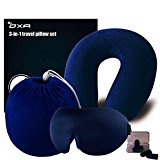 OXA Memory Foam Travel Neck Pillow Sets, 2 Pair of Earplugs,Sleep Mask and Carry Bag, Blue
