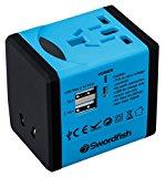 Swordfish 40248 VariPlug Dual USB Universal Travel Plug Adapter/Charger - Blue