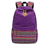 Fashion Plaza EXTRA big! Ladies Vintage Canvas Backpack Retro Vintage backpack for outdoor camping picnic Außflug Sports University backpack schoolbag C5095 (Purple)