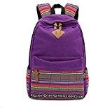 Fashion Plaza EXTRA big! Ladies Vintage Canvas Backpack Retro Vintage backpack for outdoor camping picnic Außflug Sports University backpack schoolbag C5095 (Purple)