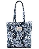 [HotStyle Fashion Printed] Floral Design Womens Shopper Tote Shoulder Bag, Grey
