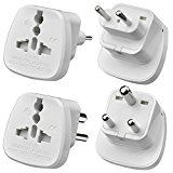 AMOS 2 Pcs 2-Pin / 3-Pin Prong India Indian / Pakistan / Srilanka Universal Universelle Worldwide Tourist Visitor Visiter Travel Adaptor Adapter Convertor Converter Plug from UK, EU Europe, Switzerland, USA America, Canada, Zambia, France, Germany, Italy, China, England, Great Britain, Cyprus, Gibraltar, Hong Kong, Kenya, Kuwait, Malaysia, Malta, Mauritius, Nigeria, Dubai, UAE to India Indian / Pakistan 2-Pin & 3-Pin Prong Plug Round Travel Adaptor Adapter / Convertor Converter Plug (White)