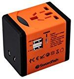 Swordfish 40253 VariPlug Dual USB Universal Travel Plug Adapter/Charger - Orange