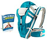Premium Baby Carrier by CacaBabies, 4-in-1 Ergonomic, Lightweight, Comfortable for Newborns, Toddlers and Infants. Includes FREE E-Book! (Blue)