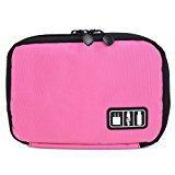 BAIGIO Universal Cable Organizer Electronics Accessories Case USB Drive Bag Healthcare Grooming Kit (Rose)