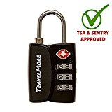 TSA Luggage Padlock - Cable Combination Travel Lock With Search Alert For Suitcase & Backpack - 1 Pack of Padlock (Black)