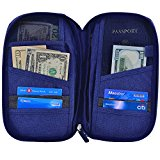 Hopsooken Travel Wallet & Passport Holder Organizer Rfid Blocking ID Card Pouch (Darkblue)