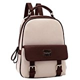 Tinksky Women Leather Backpack Leisure Travel Vintage Outdoor Backpack for Teenage Girls