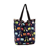 Reusable Grocery Tote Bag Expandable Shopping Bags Folding Bag Giraffe