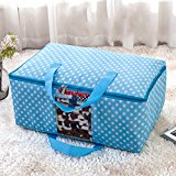 Sulida Polka Dots Transparent Foldable Storage Bag Clothes Blanket Sweater Case Containe Boxes (M, Blue)