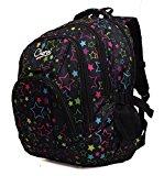 High Quality Large Chervi Womens Girls Stars College School Uni Travel Backpack Bag (Black Stars)