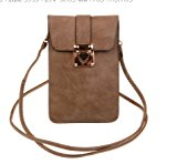 KISS GOLD Luxury Matte PU Leather Mini Crossbody Single Shoulder Bag Cellphone Pouch (Model A-Brown)