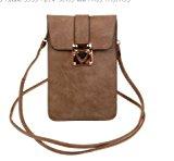 KISS GOLD Luxury Matte PU Leather Mini Crossbody Single Shoulder Bag Cellphone Pouch (Model A-Brown)