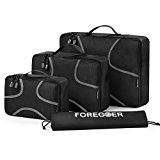 FOREGOER 3 Set Packing Cubes Travel Luggage Organizers with Laundry Bag - Black