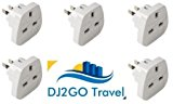 DJ2GO TRAVEL High Quality USA/Canada/Australia Travel Adapter plugs, International travel adaptors - Bulk buy Travel Plus, White, 5 pack