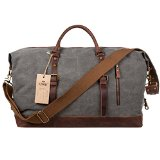 S-ZONE Mens Canvas Leather Holdall Travel Duffle Overnight Weekend Satchel Totes Bag Handbags (Grey (Big Size: 54 x 23 x 42CM))