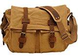 Voguees Classic Vintage Canvas Shoulder Crossbody Messenger Bag Khaki