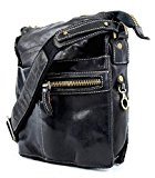 Tornabuoni - Washed Leather Man Shoulder Bag - Color: Black - Dimensions: 21x6x25