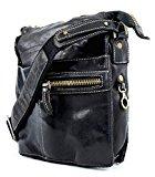 Tornabuoni - Washed Leather Man Shoulder Bag - Color: Black - Dimensions: 21x6x25