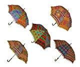 Indian Handmade Designer Cotton Fashion Multi Colored Umbrella Embroidery Boho Umbrellas Parasol 5 Pcs Lot