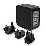 Travel Charger Adaptor- Turata 4 USB Universal World Wall Charger Travel Adapter for Mobile Phones and Tablet -Black