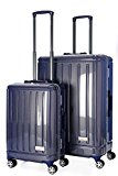 Aerolite Total Security Ultra Secure Zip-Free Hard Shell Luggage Suitcase - 8 Wheels Spinner, Polycarbonate/Aluminium Body, TSA Approved Locks (20/28 Inch Set, Blue)