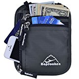 Hopsooken RFID Travel Neck Wallet Passport Holder, Use As Neck Pouch or Hidden Wallet - Protect Your Money, Passport, Credit Cards, Cell Phone and Documents (Gray)