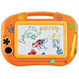 VINNEL® Magnetic Color Drawing Board for Kids/Toddlers/Babies with 2 Stamps and 1 Pen/ Sketch Pad Writing Craft Art Child Gift Toy (Orange)