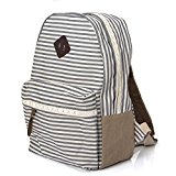 Koolertron Unisex Vintage Casual Daypack Fashion Pack Canvas Leather Travel Hiking Backpacks Campus School College Bookbag Rucksack Gym Shoulder Bag Portable Tablet PC Carry Case DSLR Camera Bag Gift for Teenage Girls/Boys(A-Grey)