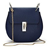 B1 Fashion Women High Grade PU Leather Purse Valentine Chain bag Shoulder & Cross Body Bags 9 Colors (navy blue)