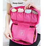 ANKKO Portable Bra Underwear Storage Bag Travel Lingerie Organizer Pouch (Hot Pink)