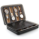 Amzdeal Black Faux Leather 8 Grids Watch Storage Box Watch Display Box Case Tray Travel Watch Box