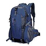 40L Hiking Backpack, Hansee Waterproof Nylon Travel Luggage Rucksack Backpack Bag (Red/Orange/Hot Pink/Green/Dark Blue/Blue/Black/Army Green) (Dark Blue)