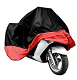 Universal Waterproof Dust Sun proof Indoor Outdoor Motorcycle Motorbike Cover for Harley Davison, Honda, Suzuki, Yamaha, Kawazaki Etc, Package Bag Include (Black/Red, XXL)