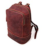 YAAGLE Unisex Genuine 100% Leather Casual Daily Shoulder Daypack Laptop Bag Backpack
