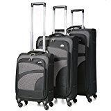 Aerolite 4 Wheel Spinner Lightweight Suitcase Luggage, 75 cm, 105 Litre, Black, Set of 3