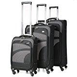 Aerolite 4 Wheel Spinner Lightweight Suitcase Luggage, 75 cm, 105 Litre, Black, Set of 3