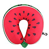 Demiawaking Foam Soft U-shape Travel Neck Pillow Airplane Creative Car Pillow (Watermelon)