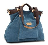 KISS GOLD(TM) Women's Casual Canvas Top-Handle Bag Shoulder Bag (Blue)