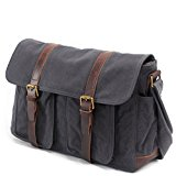 MaiJin Unisex Adult Vintage Genuine Leather Canvas Messenger Bag