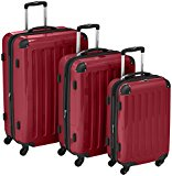 HAUPTSTADTKOFFER - Alex - Set of 3 Hard-side Luggages Glossy Suitcase Hardside Spinner Trolley Expandable (S, M & L) Red