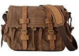 Voguees Classic Vintage Canvas Shoulder Crossbody Messenger Bag Coffee