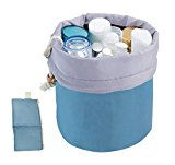 LY® Multi-pockets Spacious Cosmetic Bag Travel Drawstring Toiletry Organizer Wash Bag Makeup Storage Bag+Small Zipper Pocket+Transparant PVC Pouch Travel Essential Bag in Bag Big Enough Towels and Lingerie Pouch(Sky Blue)