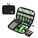 BAGSMART Design Slim Travel Cable Organizer Bags Electronic Accessories Case Handy USB Drive Shuttle Black
