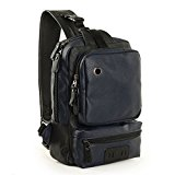 Koolertron Vintage Synthetic Leather Shoulder Backpack Sling Chest Sport Hiking Bag Bicycle Messenger Cross Body Bag Rucksack Travel Backpack School Backpack Camping Bag Bookbag (Darkblue)