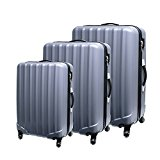 Christmas Lifetime Warranty Set of 3 (20/24/28 inch) Vesgantti ® Light Weight Hardshell Travel Luggage Suitcase, Trolley Cases Bag, Carry-on and Checked Baggage, With 4 Twin-spinner Wheels (Gray)