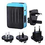 Travel Adapter MiLOOL US AU UK EU Plug Charger Adapter 24W 4.8A 4 Ports AC USB Wall Travel Charger with SmartCharge for Smartphone, Portable Battery, Bluetooth Speaker, Headset