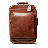 Maxwell Scott® Luxury Italian Leather Suitcase with Wheels (Piazzale), Classic Chestnut Tan