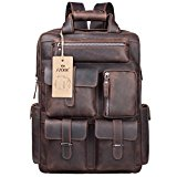 S-ZONE Mens Genuine Leather Handmade 17 inch Laptop Backpack Rucksack Multi Pockets Travel Sports Bag (A-Dark Brown)
