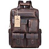 S-ZONE Mens Genuine Leather Handmade 17 inch Laptop Backpack Rucksack Multi Pockets Travel Sports Bag (A-Dark Brown)